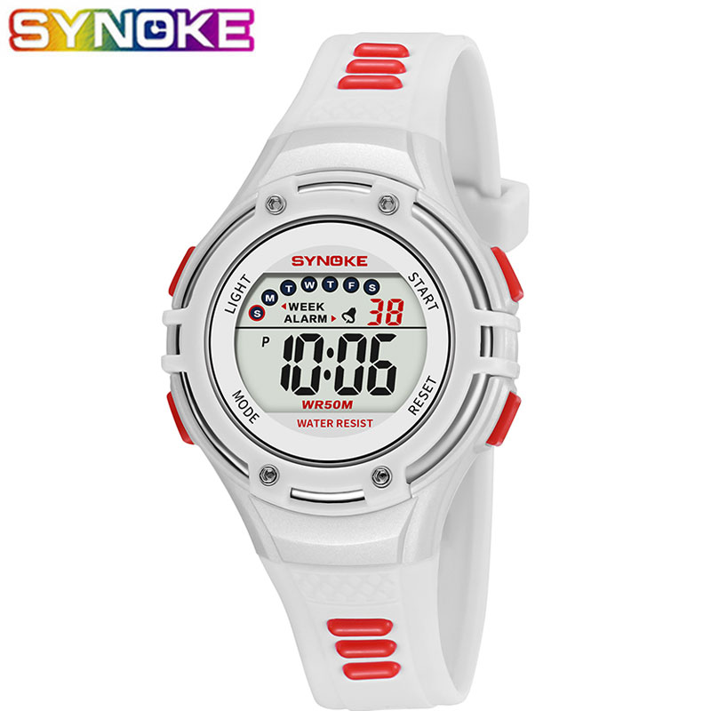 SYNOKE New Children Watches LED Light Digital Multi-functional Waterproof Wristwatches Outdoor Sports Watches For Kids Boy Girls