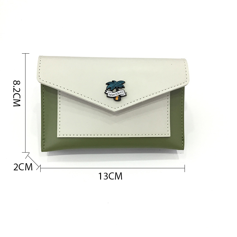 Change Purse New Carving Name Korean Short Section Two Fold Wallet Female Envelope Multi function Card Pack Wallet Coin Purse in Wallets from Luggage Bags