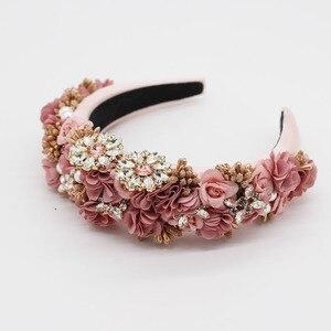 Image 4 - Éponge en strass éponge à la mode Baroque, en fleurs, bandeau sauvage, accessoires pour cheveux, tir dans la rue, pour le bal de promo, 756