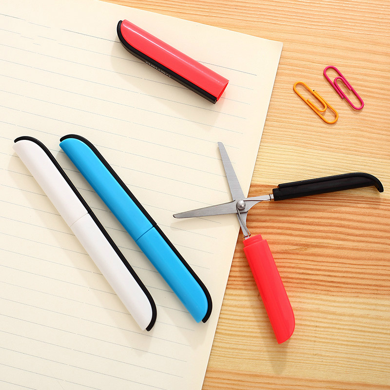 Deli Portable Scissors Paper-cutting Folding Safety Scissors Hand Cut Supplies Paper Cutter Pen Office Tools Cuter Pen Knife