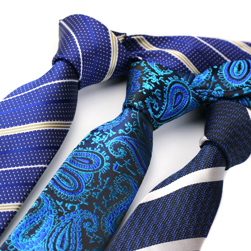 YISHLINE NEW 6CM Skinny Tie For Men Narrow Necktie Floral Paisley Stripes Ties Blue Red Grey Arrow Wedding Ties Accessories