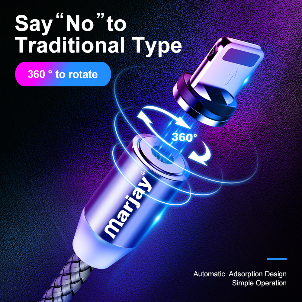 Marjay Magnetic Micro USB Cable For iPhone Samsung Android Fast Charging Magnet Charger USB Type C Cable Mobile Phone Cord Wire 3