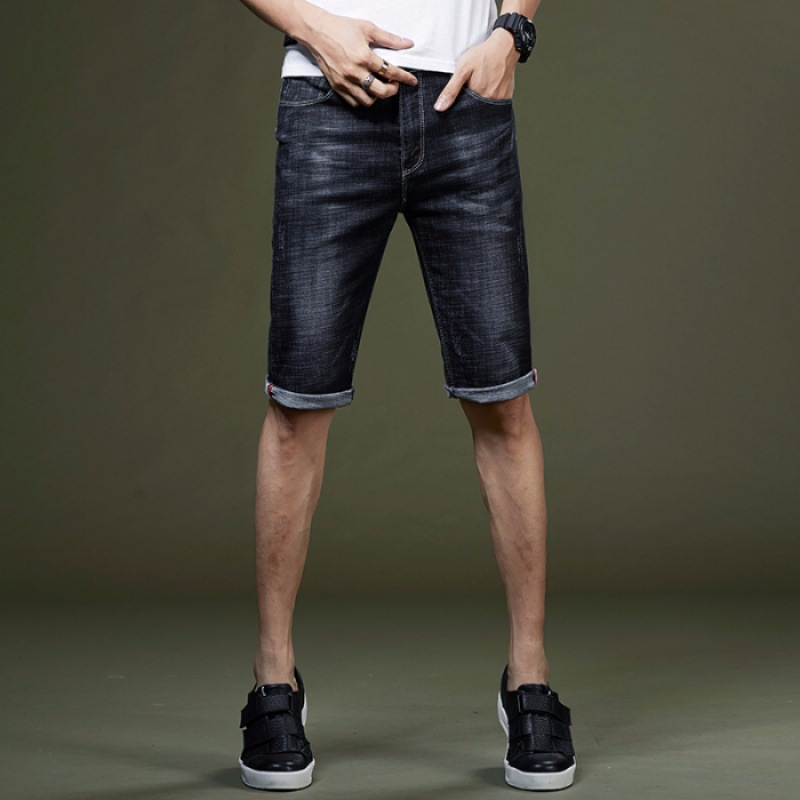 Summer Thin Section Denim Shorts Men's 5 Shorts Bermuda Shorts Cropped Trousers For Men's Fashion Loose Breeches Elasticity