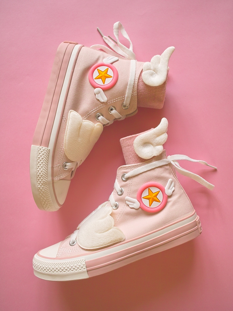 Creative Canvas Anime Card Captor Sakura Vulcanize Shoes With Wing Cartoon Pink Cloth Sneakers Women Girls Cute High Tops Shoes