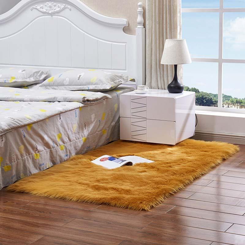 Очень мягкие прямоугольные коврики из искусственного меха овчины для спальни, напольный ворсистый шелковистый плюшевый ковер, белый ковер из искусственного меха, прикроватные коврики - Цвет: yellow camel