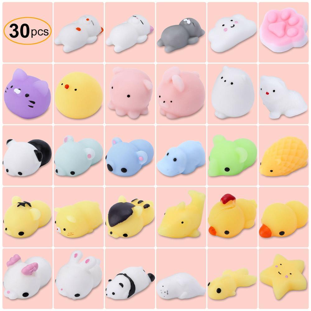 30Pcs Mini Animal Squishies Kawaii Mochi Squeeze Stress Toys Soft Squishy Gifts Mochi Animals Stress Toys Random Color