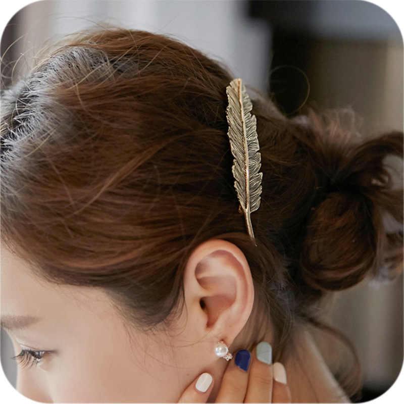 ヴィンテージシンプルなゴールドシルバー葉羽のヘアクリップヘアピンバレッタ春クリップ髪の宝石女性ティアラアクセサリー花嫁