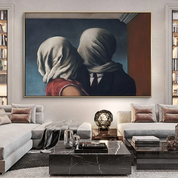 The Lover Surrealism Painting by Rene Magritte Printed on Canvas 2