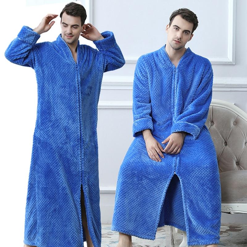 Men Plus Size Thickening Warm Extra Long Winter Bathrobe Male Flannel Thermal Bath Robe Women Robes Mens Fleece Dressing Gown