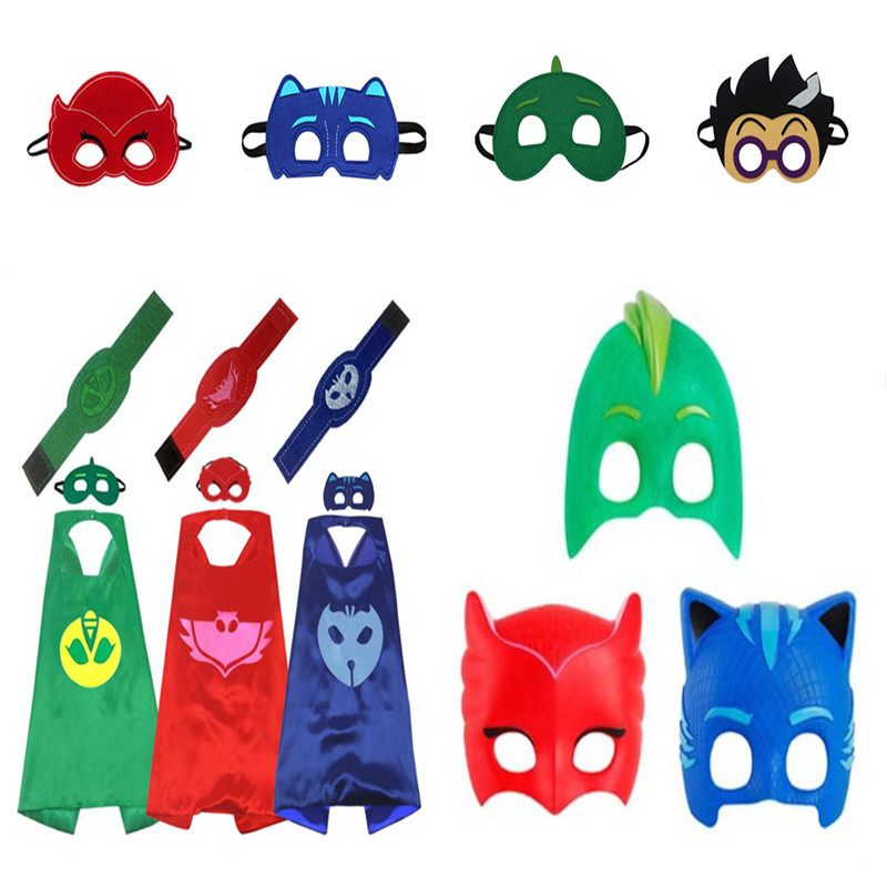 Complete Series Pj Masks Masquerade Ball Mask Cloak Cape Bracelet Children Party Gifts