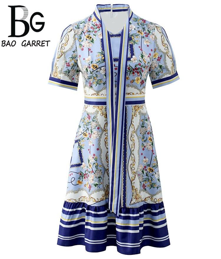 Baogarret Fashion Runway Summer Dress Womens Bow Collar Casual Elegant Printed High Waist A-Line