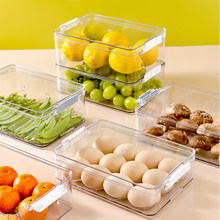 Transparent Storage Box For Kitchen Household Eggs Fruits And Vegetables Crisper Can Be Superposition Food Storage Box