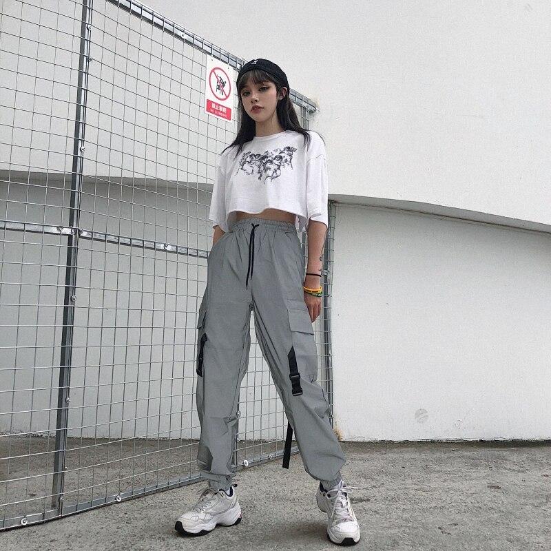 Elastic High Waist Trousers Women with Belt Gray Casual Harajuku Reflect Ligh Pants Capri Pockets Hip Hip Sweatpant Joggers 2020