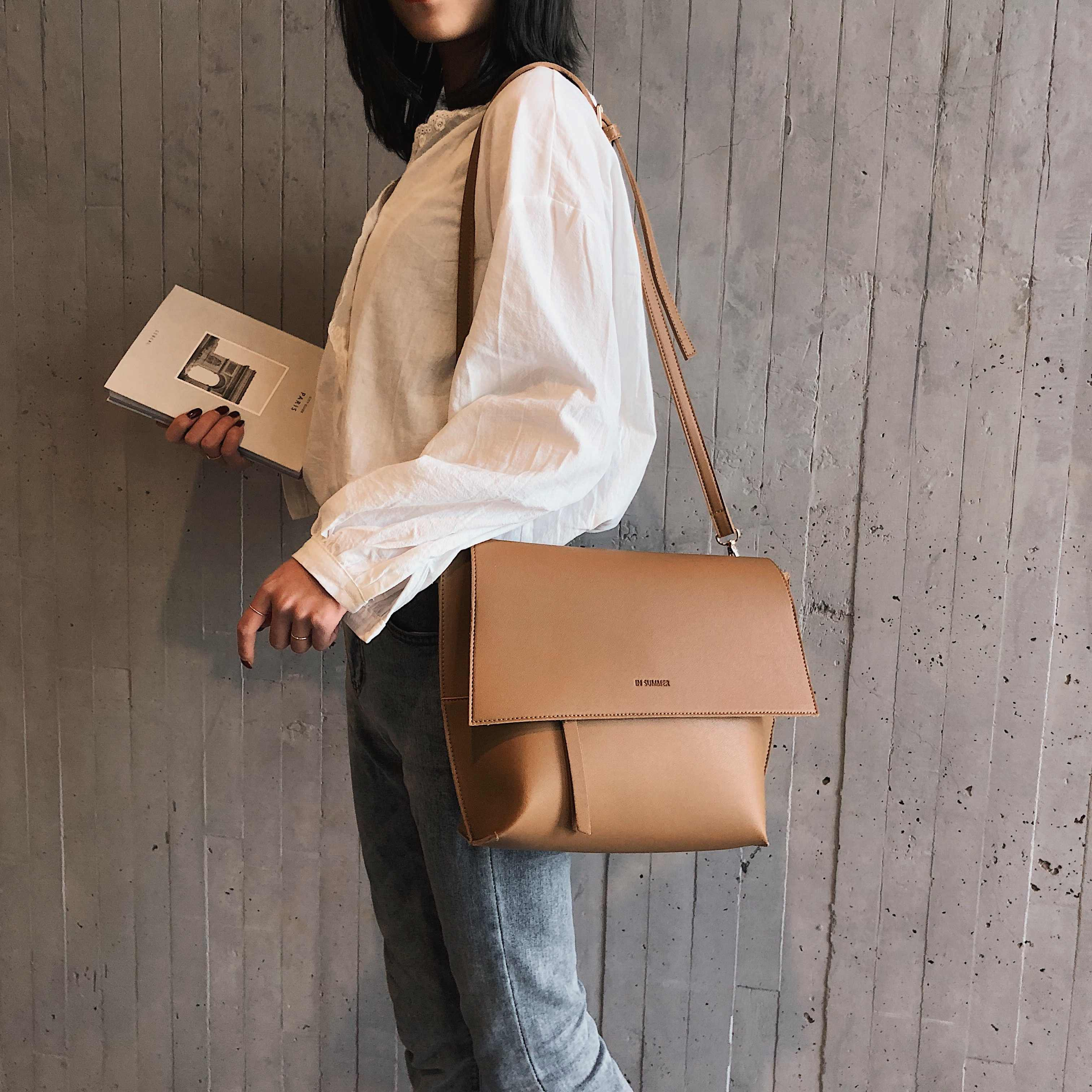 Kualitas Tas Bahu Kulit PU untuk Wanita 2019 Desainer Tas Besar Tas Kurir Selempang Wanita Warna Solid Tas Tangan