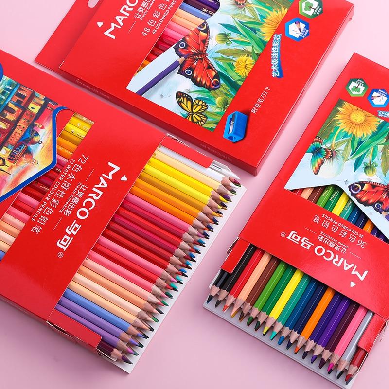 M & G Marco акварель масло цветные карандаши C700 72/48/36/24 водорастворимый карандаш для рисования набор печати искусства расходные материалы