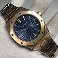 Luxus Marke Neue Männer Uhr Edelstahl Automatische Mechanische Rose Gold Blau Sapphire Royal Zurück Sehen Durch Oaks AAA +