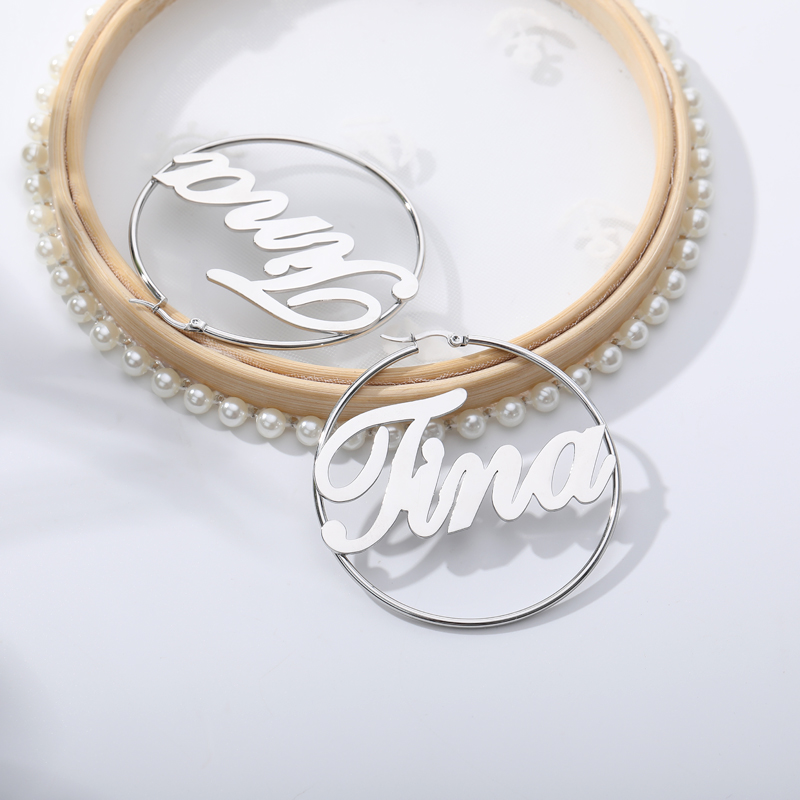 Personalized 20-70mm Big Earrings for Women Custom Any Name Jewelry Old English Font Stainless Steel Circle Earring Mujer gift