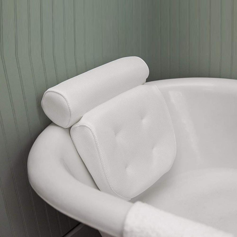 3d Bath Tub Spa Pillow Cushion Neck Back Support With Suction Cup Machine Washable Mould Proof Pillow