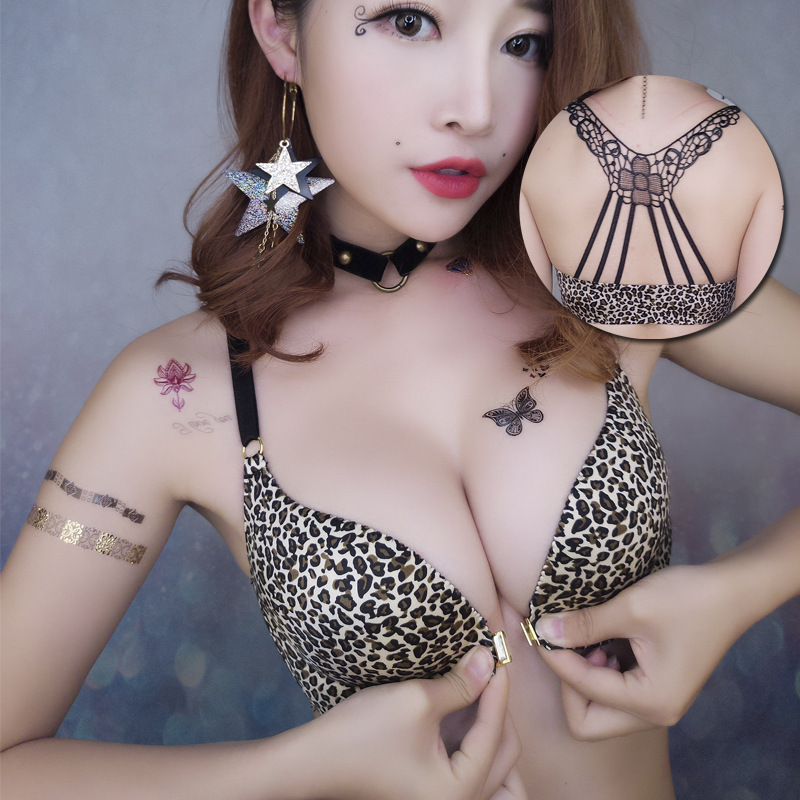 Fashion Front Closure No Wire Girl Underwear BH Sexy Leopard Print Women Push Up Bra Lingerie Tops Adjustable Female Bralette