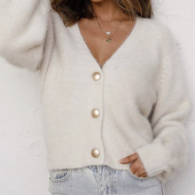 Short Cardigan Outwear Mohair Sweater Knitted Long-Sleeve Women Hirsionsan Single-Breasted