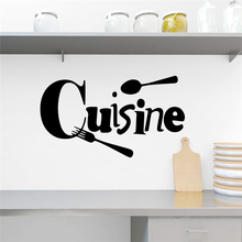 Creative cuisine letters wall stickers for kitchen dining room home decor removable wall decals vinyl mural art diy posters