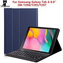 Wymagalny futerał na klawiaturę do Samsung Galaxy Tab A 8.0 2019 skrzynki pokrywa dla SM T290/T295 bezprzewodowy wymienny Tablet Bluetooth funda