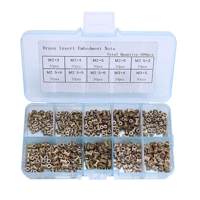 500Pcs/Set Insert Embedment Nuts Injection Molding Nut Brass Insert Knurled Nuts Knurling Tool Embedded Parts Fastener