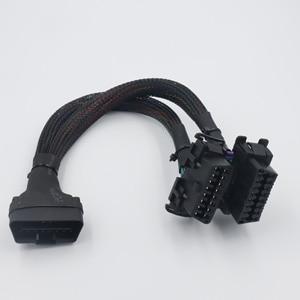 Image 3 - Finetrip 30Cm 2 In 1 OBD2 Verlengkabel Obdii Male Naar 2 Vrouwelijke Splitter Auto Computer Verbinding Conversie Plug voor Elm327