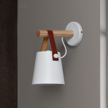 LED Wall Light Wood Wall Lamps Modern Nordic Style Wall Lamps Bed Bedside Light E27 85-265V White & Black Lampshade Home Decor