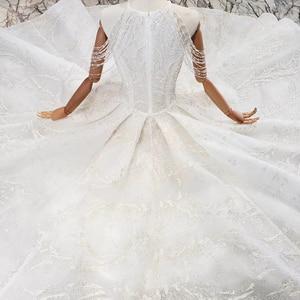 Image 3 - HTL620 vestidos de casamento com long train mangas beading lantejoulas zipper O Pescoço plissado vestido de noiva uma linha vestido de novia 2019