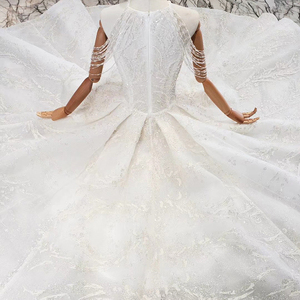 Image 3 - HTL620 wedding gowns with long train sleeveless beading sequined zipper O neck pleat wedding dress a line vestido de novia 2020