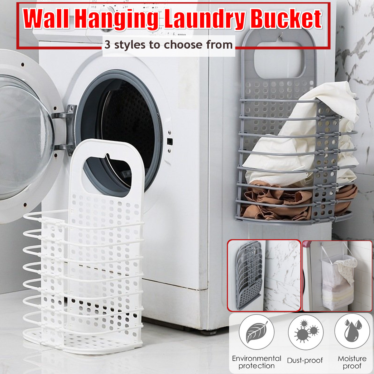2pcs/set 3 Styles Wall Hanging Laundry Organizer Basket Dirty Laundry Hamper Collapsible Home Laundry Basket Household Supplies