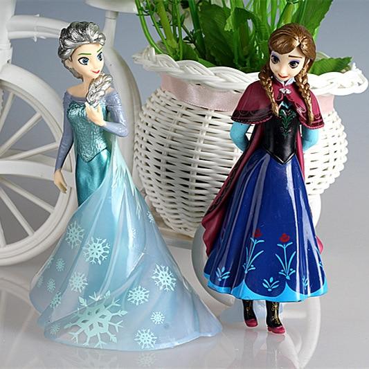 Disney Princess Cartoon Model Frozen Cake Car Decoration Girl Gift Doll Toy Elsa Figurines Miniatures Children Souvenir