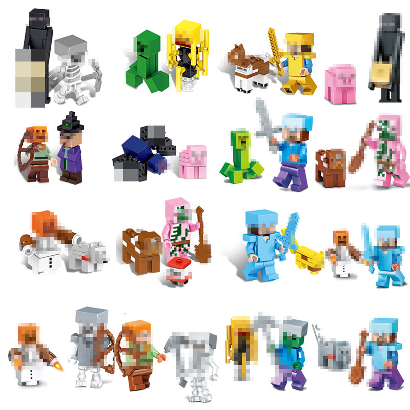 Legoings Mine Steve Alex Zombie Enderman Reuben Skeleton Weapon Crafted Action Figures Toys Compatible With LegoINGlys Blocks