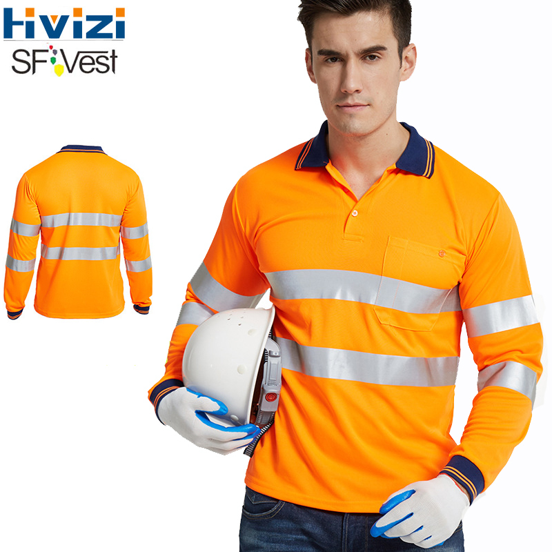 Orange High Visibility Reflective Safety T-shirt Quick Drying Long Sleeve Workwear Outdoor Construction Protective Work Clothes