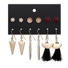 2019 New Fashion Gold Color 6Pair/Set Triangle Flowers Earring Set For Women Spike Black Tassel Stud Earrings Jewelry