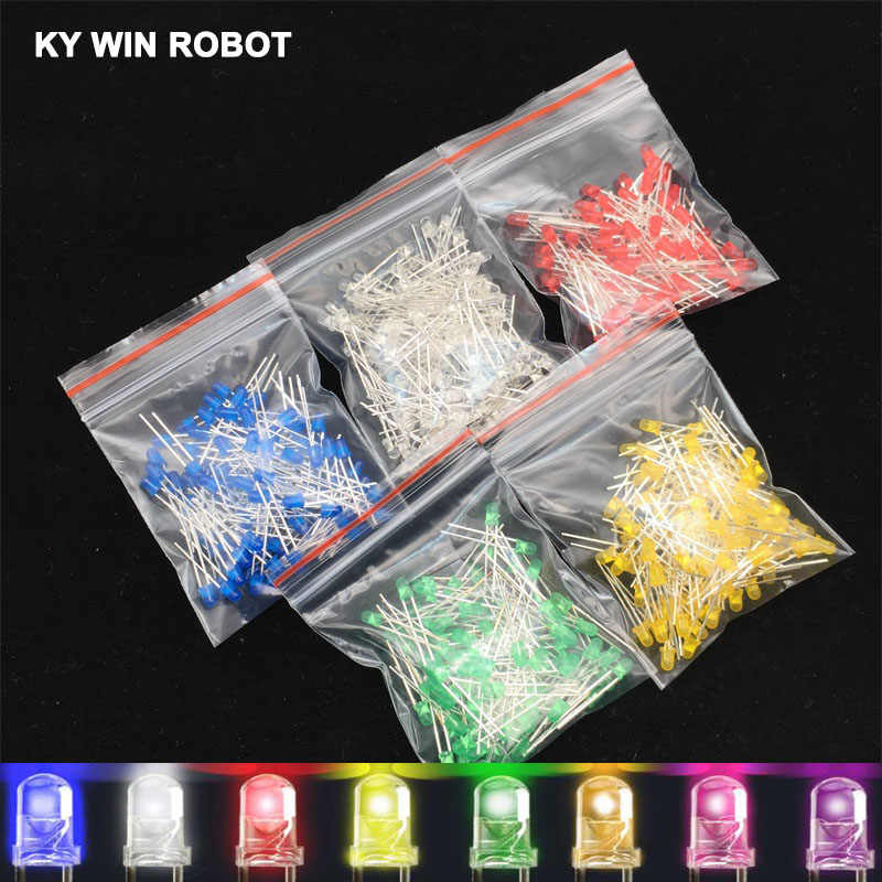 100pcs 3mm LED Diode 3 mm Assorted Kit White Green Red Blue Yellow Orange Pink Purple Warm white DIY Light Emitting Diodes
