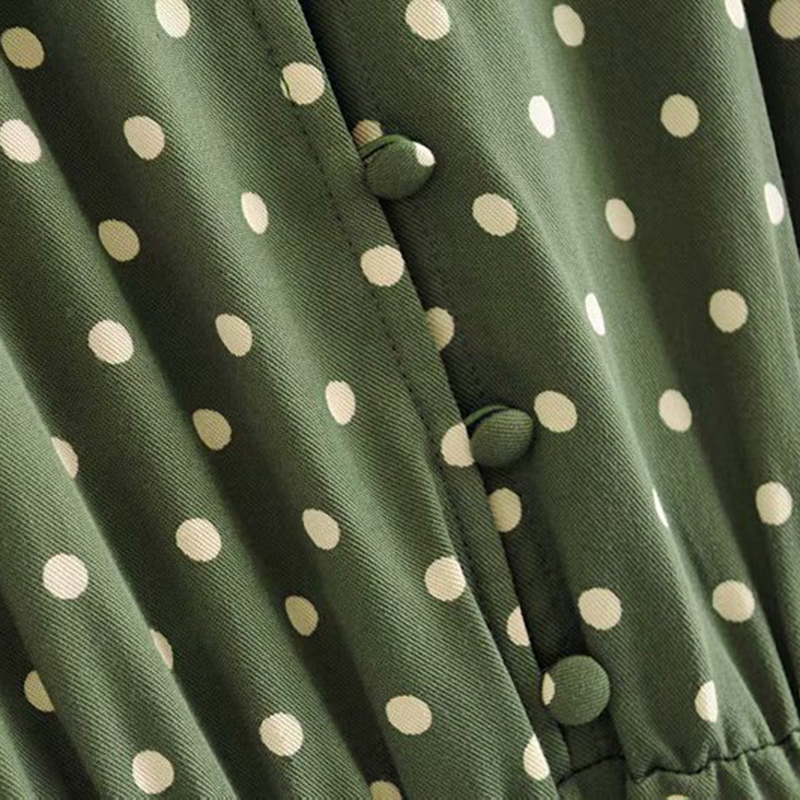 Vintage Stylish Polka Dot Buttons Midi Dress Women 2019 Fashion V Neck Short Sleeve Slit Ladies Dresses Casual Vestidos Mujer