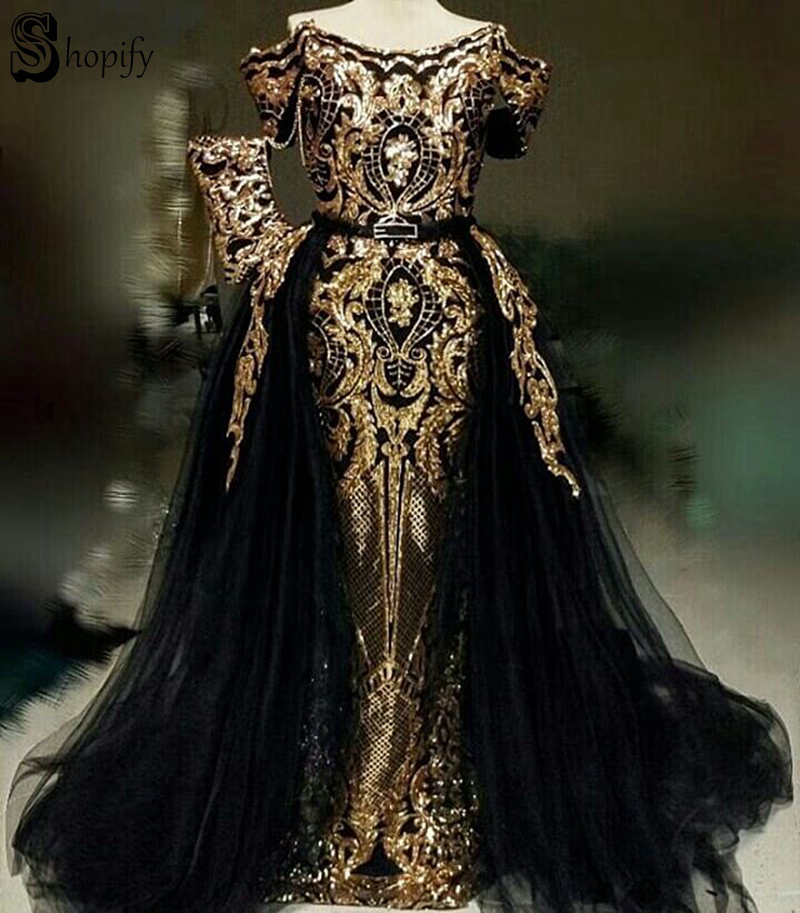 Long Sparkly Elegant Evening Dress 2019 Mermaid Cap Sleeve Two Piece Gold Sequin African Detachable Black Formal Evening Gowns