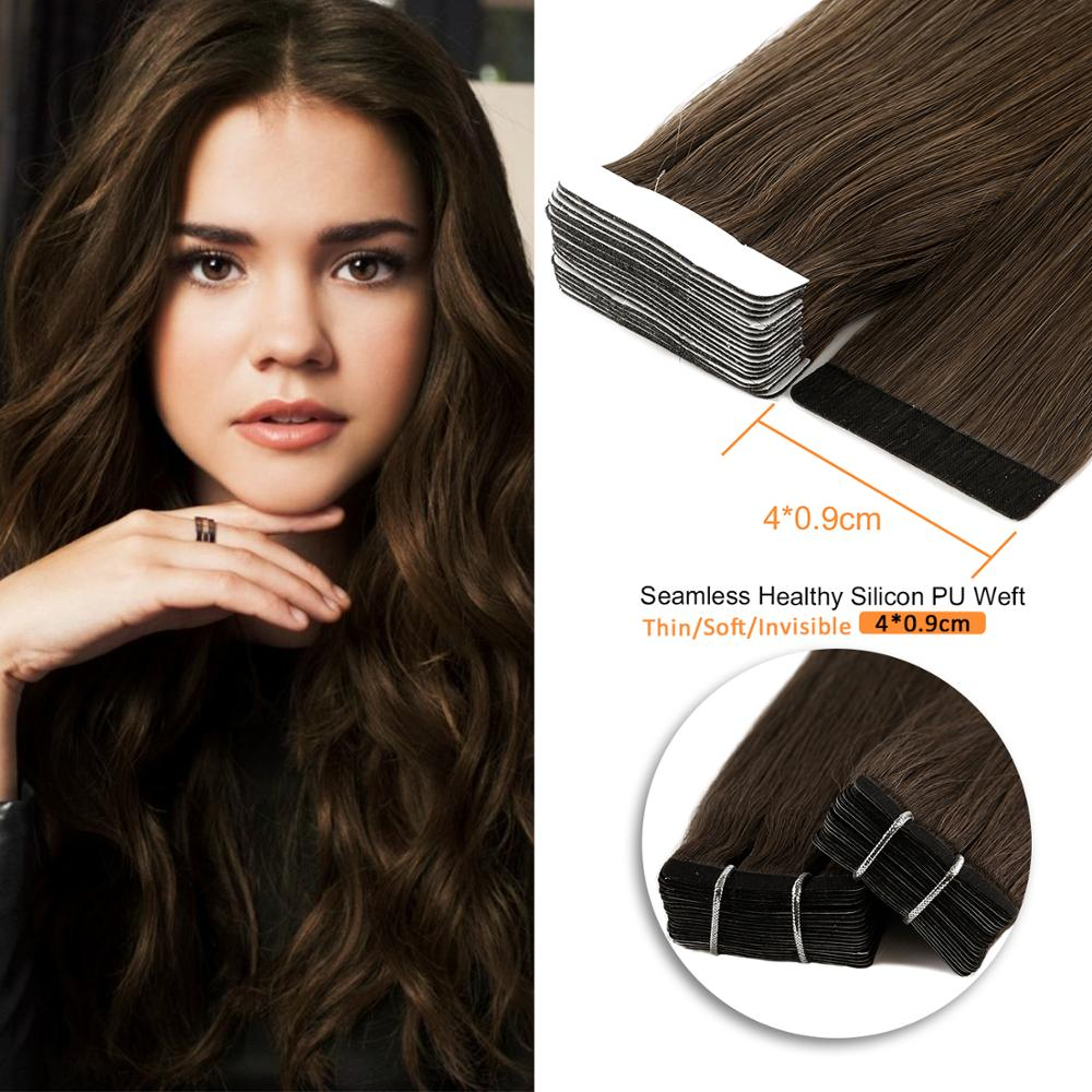 Neitsi Straight Skin Weft Adhesive Hair Non-Remy Tape In Human Hair Extensions 16