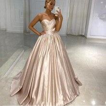 Simple Sweetheart Long Evening Dress A-line Backless Satin Vintage Prom Gowns Cheap Gown Vestido De Festa 2020