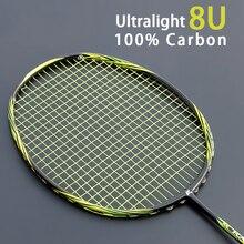 Многоцветная Сверхлегкая профессиональная ракетка для бадминтона 8U 65g из углеродного волокна с мешками для бадминтона, ракетки с нарисованным типом Raqueta 22-28LBS