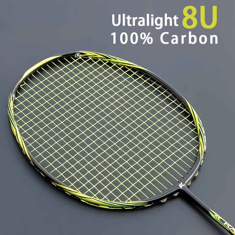 Multicolor Ultralight 8U 65g Carbon Fiber Professional Badminton Racket With String Bags Offensive Type Rackets Raqueta 22-28LBS