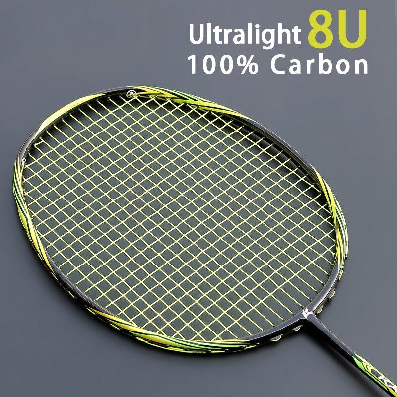 Raquette professionnelle multicolore de Badminton de Fiber de carbone de l'ultraléger 8U 65g avec des sacs de ficelle Type offensif raquettes Raqueta 22-28LBS