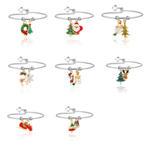 Lucky Cute New Alloy Christmas Theme Christmas Tree Wreath Elk Pendant Bracelet For Women Christmas New Year Gift Jewelry new alloy gorgeous fashion christmas theme snowman cane santa claus color pendant bracelet bracelet christmas best gift jewelry