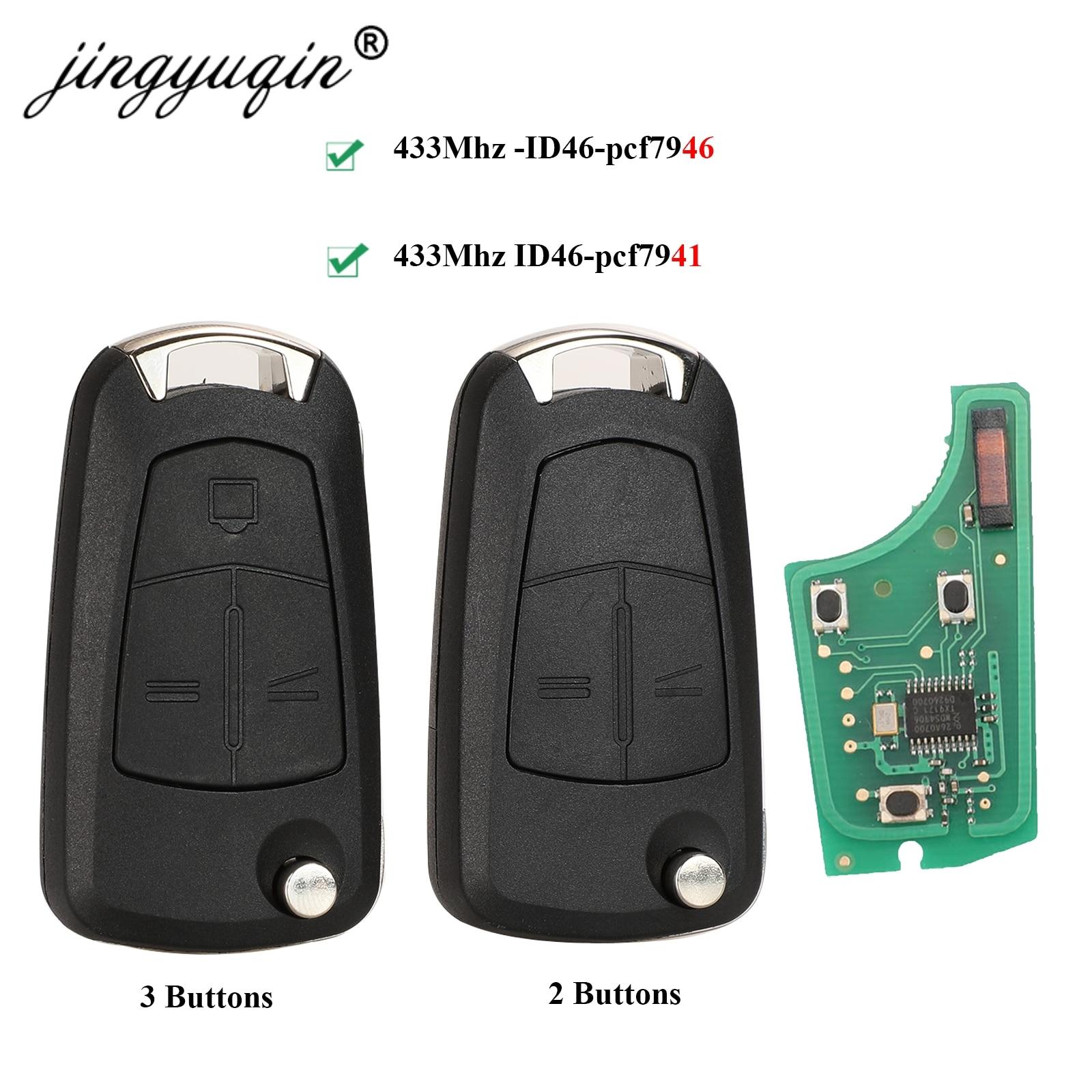 Jingyuqin Автомобильный Дистанционный ключ PCF7941 для Opel/Vauxhall Astra H 2004-2009, Zafira B 2005-2013 PCF7946 Vectra C 2002-2008 Signium