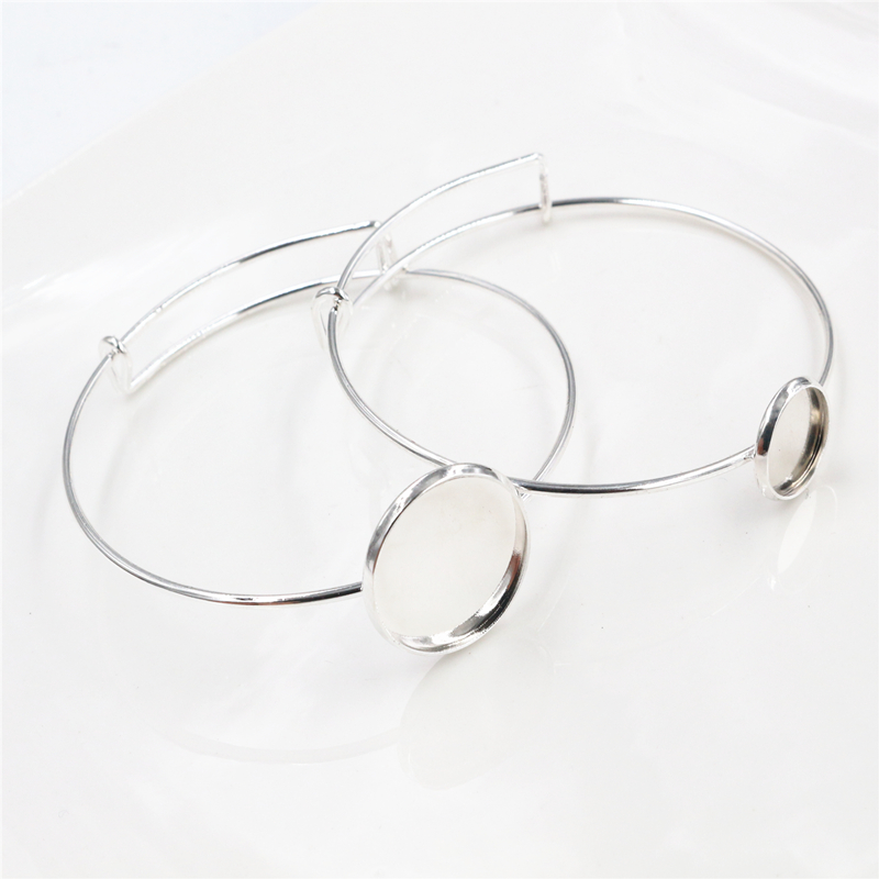 High Quality  2pcs 12/20mm Silver Plated Handmade Bangle Base Bracelet Blank Findings Setting Cabochon Cameo