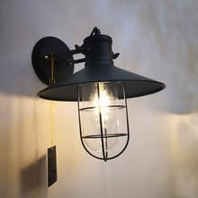 Retro Edison Glass Wall Lamp American Country Iron Art Restaurant Bar Corridor Light