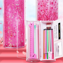 Quicksand Stationery Box Translucent Creative Cylindrical Pencil Case Multi Function Pen Case Portable Office School Storage Bag