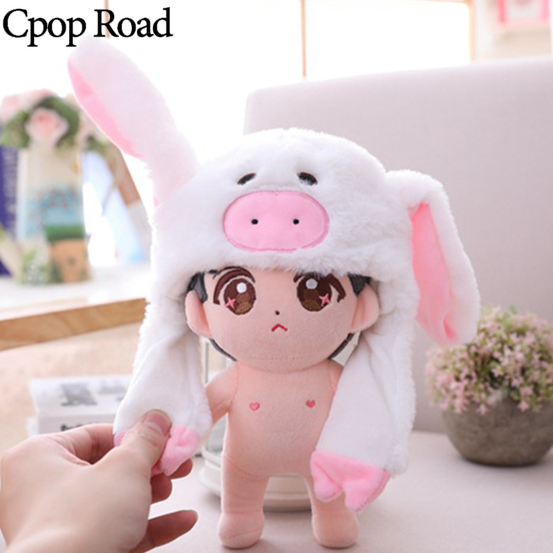 Cpop Moving Ear Star Doll Hat For Women Kids Cute Panda Punny Baby Hats Popular Winter Cartoon Plush Head Accessories Wholesale